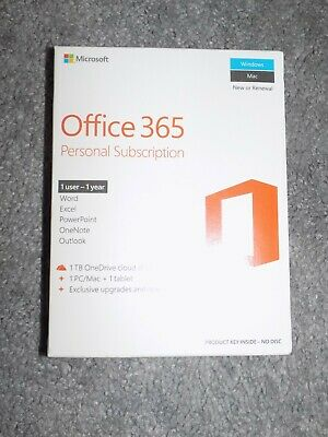 Microsoft Office 365 Personal - PC Or Mac - Brand New Sealed • 39.99£