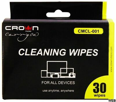Cleaning Wipes Universal Pack 30 Pieces Crown Micro • 8.81£