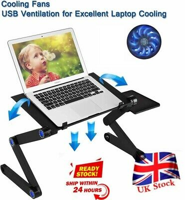 Folding Notebook Laptop Desk Table Stand Sofa Bed Tray W/ Cooling Fan Mouse Boad • 17.69£