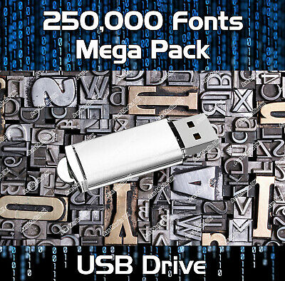 250,000 Royalty Free Fonts Collection Usb - Publishing, Web, Graphic Design • 10.99£