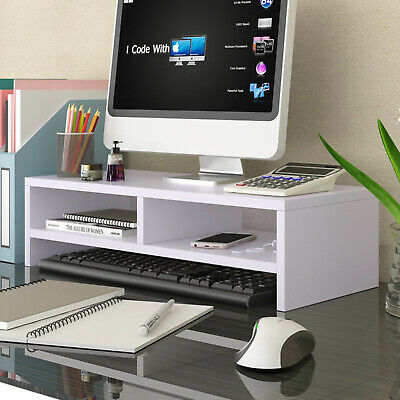 White Desktop Monitor Riser Laptop PC Plinth Stand Organiser Computer Screen • 16.99£