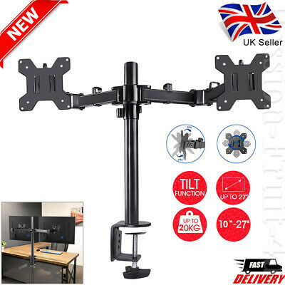 10 - 27  Fully Adjustable Double Monitor Bracket Dual Arm Desk Stand Stable LED • 21.99£