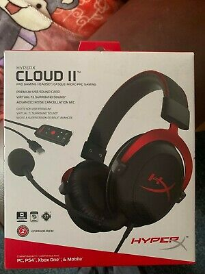 HyperX Cloud II Gaming Headset For PC Ps4 Mac Mobile Xbox • 20£