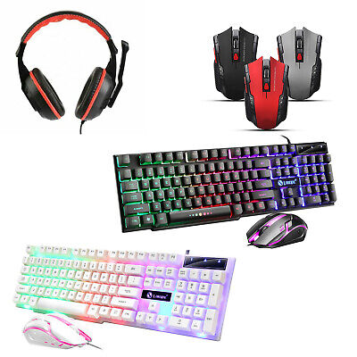 Gaming Keyboard And Mouse Set - LED Mouse & Headset Gaming PC Laptop PS4 Xbox • 14.99£