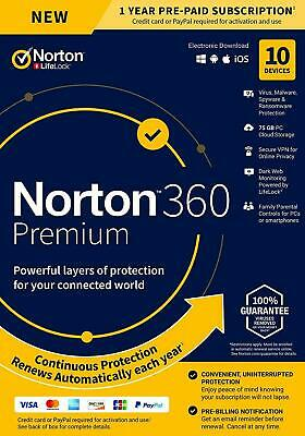 NORTON 360 PREMIUM SECURITY 2021 - 10 PC DEVICES -  WITH SECURE VPN - Download • 20.90£