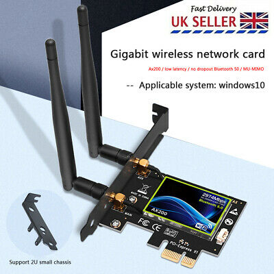 AX200 2974Mbps WiFi PCI-E Adapter Dual Band Bluetooth Receiver Network Card • 18.67£