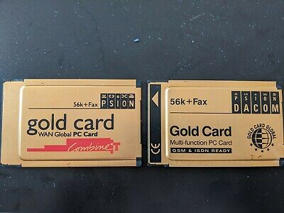 Psion Gold Wan Global PC Card 56k+ Fax & Psion Dacom Gold Card PCMCIA 56K+Fax PC • 15£