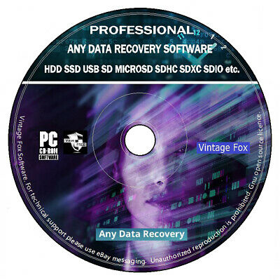 Any Data Recovery Restore Undelete HDD SSD USB SD Professional Software PC DVD + • 3.95£