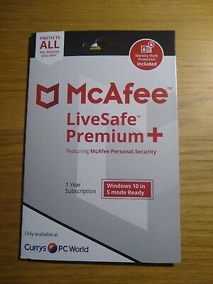 McAfee LiveSafe Premium 1 Year Unlimited Devices Retail • 14.99£