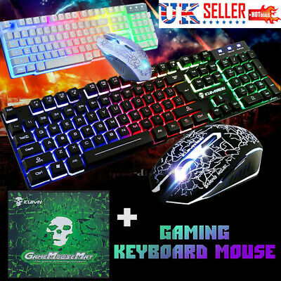 Gaming Keyboard Mouse Set Rainbow LED Usb Gaming Mouse + FREE Gaming Mouse Pads • 15.89£