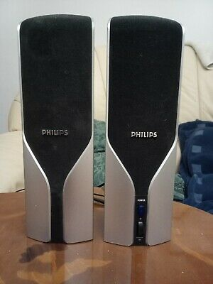 Pc Speakers Used Phillips, Model Not Known, Mains Powered 24cms High • 8£