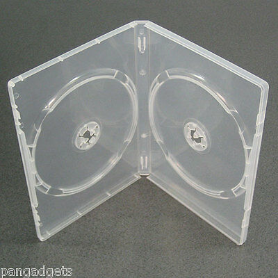 10 CLEAR  DOUBLE 7mm SLIMLINE DVD/CD CASES WITH SLEEVE- Side By Side • 5.99£