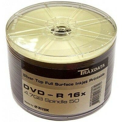 600 Traxdata Full Face SILVER Printable DVD-R  16X F Dye TOP DISKS • 86.93£