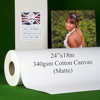 24  X 18m 340gsm Inkjet COTTON Canvas Roll (Matte) Water Resistant 100% Cotton • 37.50£