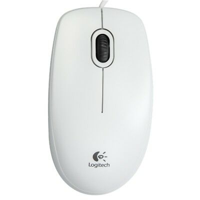 NEW Logitech B100 Optical USB Mouse For Windows Mac & Linux - White • 7.99£