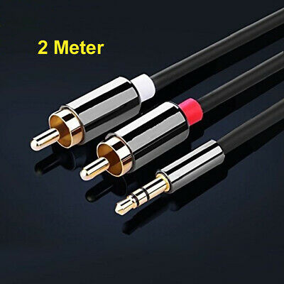 2M Meter Stereo 3.5mm Jack Audio Plug To 2 X RCA Gold Male Cable Lead PHONO TWIN • 4.99£