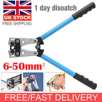 6-50mm² Terminal Battery Cable Lug Plug Crimper Crimping Hand Tool Plier Durable • 17.39£
