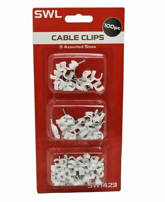 100 Pack White Cable Clips Wall Tacks Wire Cord Detangle Clamp Assorted Sizes • 2.89£
