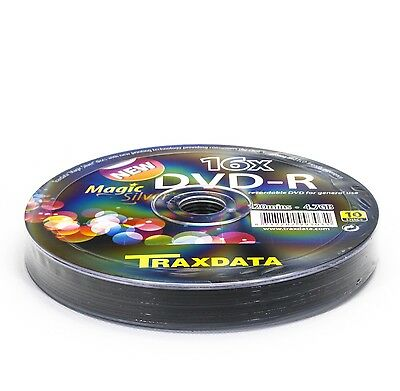 600 Traxdata Silver Magic DVD-R 16 Speed Silver Steel Effect (60 Packs Of 10) • 83.52£