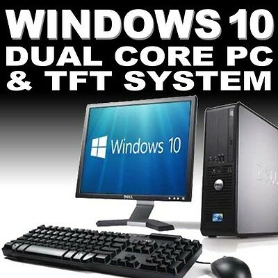 Full Dell/hp Dual Core Desktop Tower Pc & Tft Computer System Windows 10 & 4gb • 68.95£