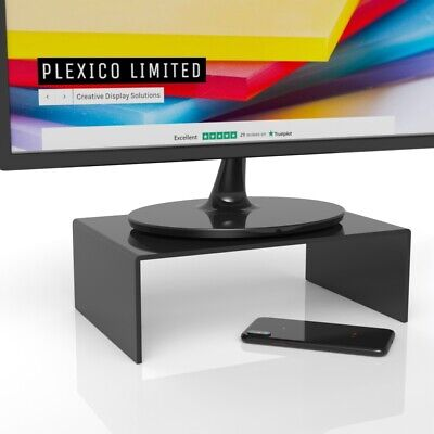 Black Computer Monitor Stand / Display Screen Riser W/D/H 250mm / 200mm / 75mm • 15.29£