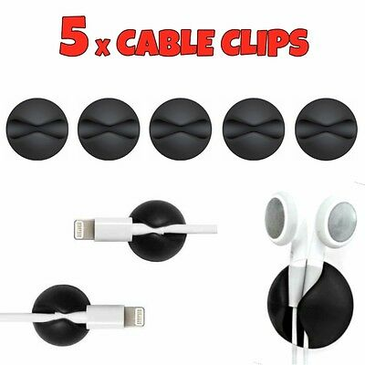 5 X Black Cable Wire Cord Lead Drop Clips Usb Charger Holder Tidy Desk Organiser • 2.49£