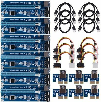 6 Pack USB 3.0 Pcie PCI-E Express 1x To 16x Cable Riser Bitcoin GPU AMD Graphics • 19.99£