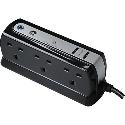 Masterplug 6 Socket Surge Protected Extension Lead & USB Chargers Black 1M Cable • 23.99£