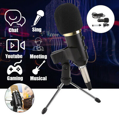 PC USB Podcast Studio Condenser Recording Microphone Vocal Singing Mic Stand NEW • 9.99£