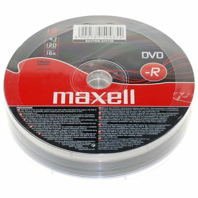 10 Pack Maxell DVD-R 16x 4.7gb 120min Blank Recordable DVD Discs In Shrink Wrap • 3.75£