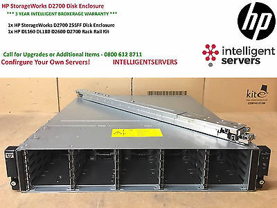HP Storageworks D2700 Disk Array 25x 2.5  Drive Bays ** AJ941A ** With Rail Kit  • 195£