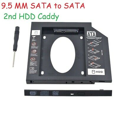 For Universal Apple Macbook Pro Optical Bay 2nd HDD Hard Drive Caddy SATA 9.5mm • 3.98£