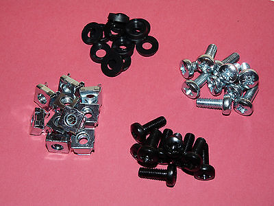 Cage Nuts Kits / M6 19  Rack Mounts / 50 Pack / Cage Nuts, Screws, Cup Washers • 4.30£
