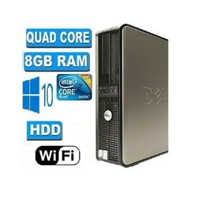 Fast Dell Quad Core Pc Computer Desktop Tower Windows 10 Wifi 8gb Ram 500gb Hdd • 88£