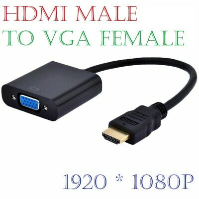 HDMI Male IN To SVGA VGA Female OUT Converter Cable Adaptor Black For PC DVD TV • 2.99£