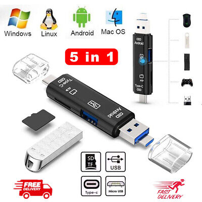 Type C / USB / Micro USB SD TF Memory Card Reader OTG Adapter 5 In 1 USB 3.0 • 4.69£