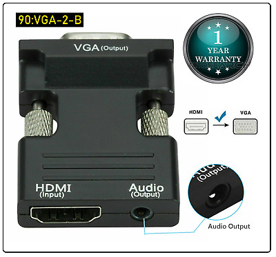 1080P HDMI Female To VGA Male With Audio Output Cable Converter Adapter Lead UK • 5.59£