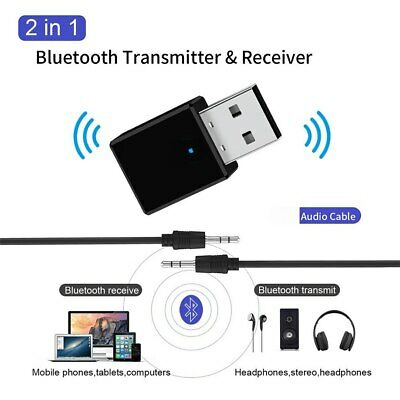 USB Bluetooth 5.0 Audio Transmitter Receiver Adapter For TV PC Car AUX Speaker • 4.49£
