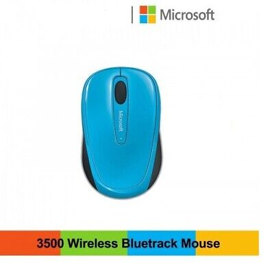 Microsoft (GMF-00271) Mouse Mice Optical Wireless Mobile3500 Cyan Blue Laptop Pc • 10.99£