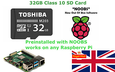 32GB Sd Card With NOOBS Preinstalled For Raspberry Pi 1, 2, 3, 4 & Zero • 8.99£