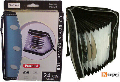 1 X CD DVD BLU RAY ZIPPER Wallet HOLDS 20 DISCS - MAX24 – Accordion Style • 3.94£