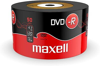 50 Pack GENUINE MAXELL BLANK RECORDABLE DVD-R DISCS 16x 4.7GB 120 MINS  • 10.99£