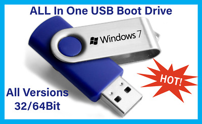 Windows 7 Bootable USB All In One (AIO) 32&64 Bit Installation And Repair • 10.99£
