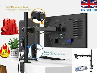 Double Monitor Mount Clamp Stand Dual Twin LCD Arm Adjustable 2 Screens 15-27  • 16.79£