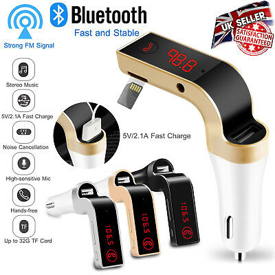 Wireless Bluetooth Car AUX Stereo Audio Receiver FM Transmitter USB Charger KIT • 7.89£