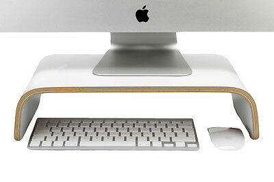 Desk Monitor Stand -White, Curved Plywood , Perfect For IMac And PC • 28.99£