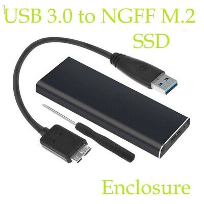 USB 3.0 To NGFF M.2 External SSD Drive Enclosure Case Caddy Adapter Converter • 7.98£