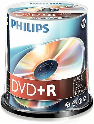 100x Philips DVD+R Blank Recordable Discs 4.7GB 120 Mins 1-16x Speed Spindle UK • 23.99£