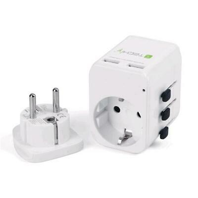 Techly Adapter Travel 2 Ports USB 2,4A White • 24.70£