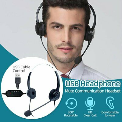 USB Headphones With Microphone Headset For Skype PC Laptop Computer Call Center • 18.58£